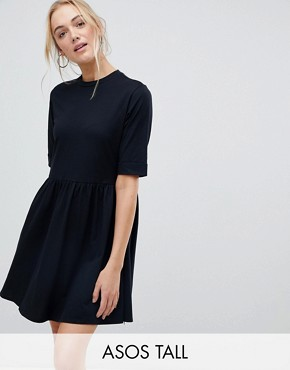 photo Mini Ultimate Cotton Smock Dress by ASOS TALL, color Black - Image 1