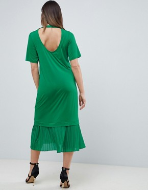 photo Maternity Midi t-shirt Dress with Pleated Hem by ASOS DESIGN, color Green - Image 2