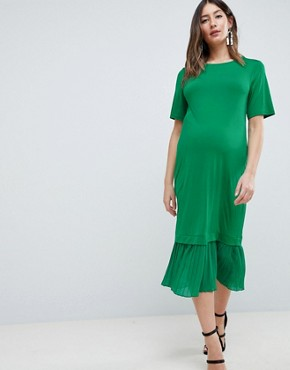 photo Maternity Midi t-shirt Dress with Pleated Hem by ASOS DESIGN, color Green - Image 1