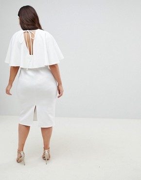 photo Cape Plunge Midi Bodycon Dress by ASOS CURVE, color White - Image 2