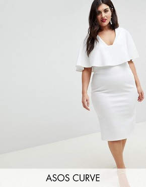 photo Cape Plunge Midi Bodycon Dress by ASOS CURVE, color White - Image 1