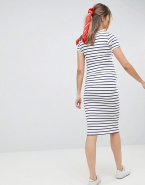 photo Maternity Midi Short Sleeve Bodycon Dress with Popper Front in Stripe by ASOS DESIGN, color Stripe - Image 2