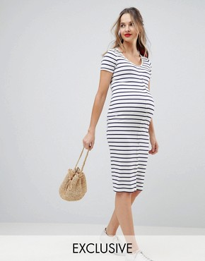 photo Maternity Midi Short Sleeve Bodycon Dress with Popper Front in Stripe by ASOS DESIGN, color Stripe - Image 1
