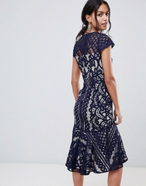 photo Dee Dee Lace Dress by Coast, color Navy - Image 2