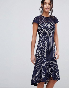 photo Dee Dee Lace Dress by Coast, color Navy - Image 1