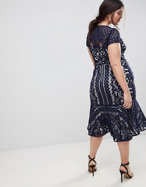 photo Dee Dee Lace Dress by Coast Plus, color Navy - Image 2
