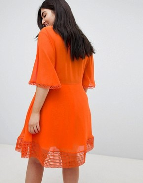 photo Mini Tea Dress with Lace Inserts and Button Front Detail by ASOS DESIGN Curve, color Orange - Image 2