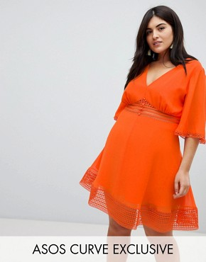 photo Mini Tea Dress with Lace Inserts and Button Front Detail by ASOS DESIGN Curve, color Orange - Image 1