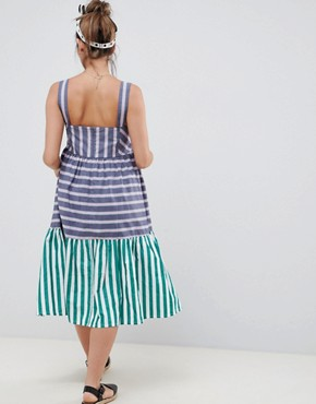 photo Maternity Stripe Midi Tiered Sundress by ASOS DESIGN, color Multi - Image 2
