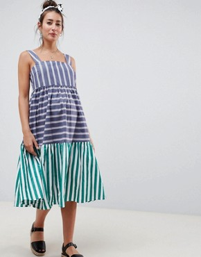 photo Maternity Stripe Midi Tiered Sundress by ASOS DESIGN, color Multi - Image 1