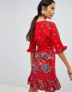 photo Floral Tea Dress with Tie Front by Parisian, color Red - Image 2