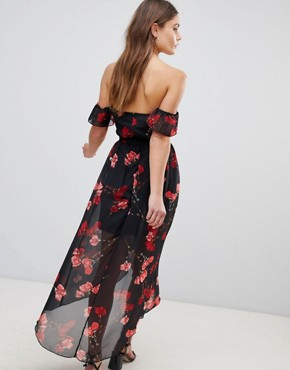 photo Floral Off Shoulder Midi Dress by Parisian, color Black - Image 2