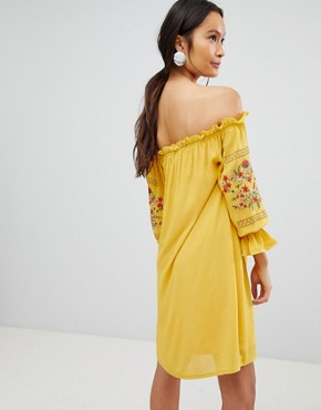 photo Off Shoulder Embroidered Dress by Parisian, color Yellow - Image 2