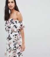 photo Off Shoulder Ruffle Mini Dress in Floral Print by Parisian, color White Floral - Image 1