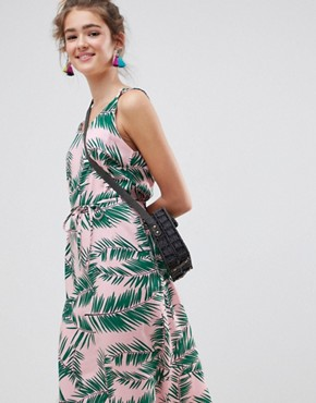 photo Adali Palmleaf Print Slip Dress by Blend She, color  - Image 3
