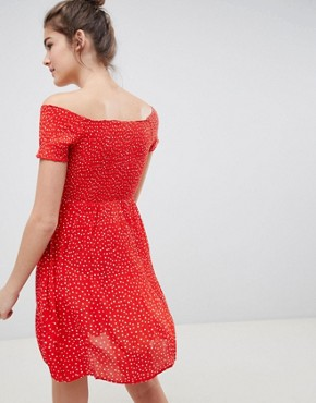 photo Dotta Off Shoulder Tea Dress by Blend She, color Poppy Red - Image 2