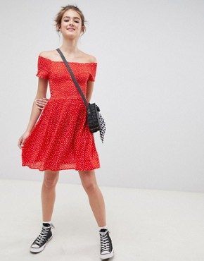 photo Dotta Off Shoulder Tea Dress by Blend She, color Poppy Red - Image 1