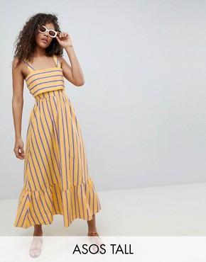 photo Stripe Maxi Dress with Pephem by ASOS DESIGN Tall, color Multi - Image 1