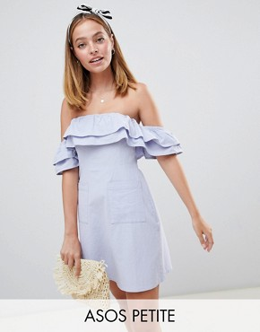 photo Ruffle Off Shoulder Mini Sundress by ASOS DESIGN Petite, color Blue - Image 1