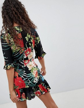 photo Tropical Print Tea Dress by Parisian Petite, color Black - Image 2