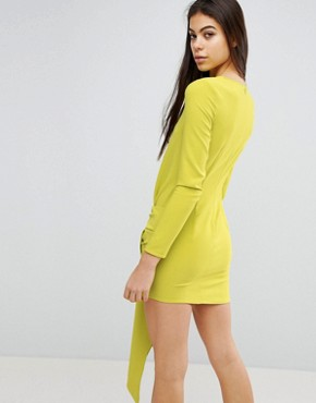 photo Twist Front Mini Dress by Missguided, color Lime - Image 2
