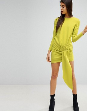 photo Twist Front Mini Dress by Missguided, color Lime - Image 1