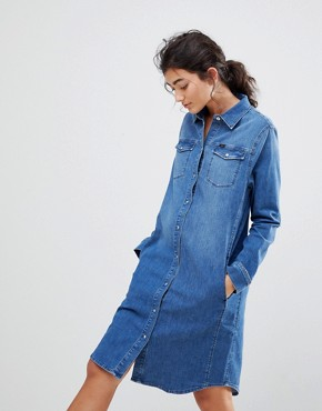 photo Western Denim Dress by Lee, color Bright Mid - Image 1