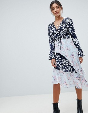 photo Mixed Floral Asymmetric Dress by Missguided, color Blue - Image 1