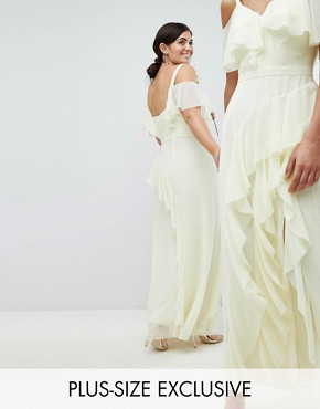 photo Illy Ruffle Maxi Dress by Coast Plus, color Lemon - Image 1