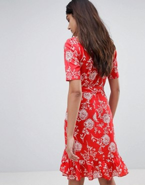 photo Floral Print Wrap Midi Dress by Parisian Tall, color Red - Image 2
