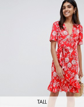 photo Floral Print Wrap Midi Dress by Parisian Tall, color Red - Image 1