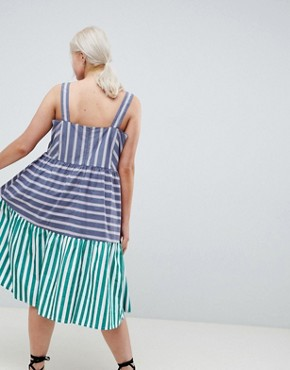 photo Stripe Midi Tiered Sundress by ASOS DESIGN Curve, color Multi - Image 2