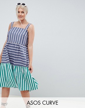 photo Stripe Midi Tiered Sundress by ASOS DESIGN Curve, color Multi - Image 1