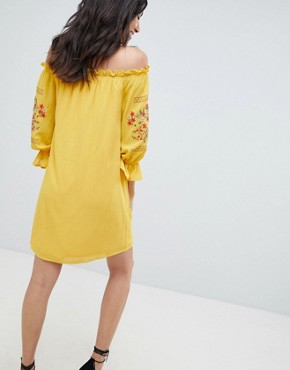 photo Off Shoulder Embroidered Dress by Parisian Tall, color Yellow - Image 2