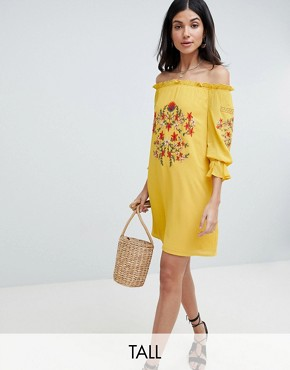 photo Off Shoulder Embroidered Dress by Parisian Tall, color Yellow - Image 1