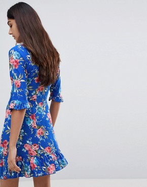 photo Floral Tea Dress with Tie Front by Parisian Tall, color Blue - Image 2