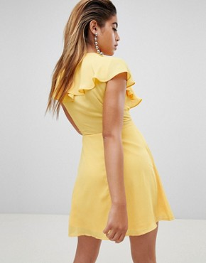 photo Tea Dress with Tie Cape Detail by Fashion Union, color Yellow - Image 2