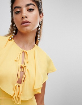 photo Tea Dress with Tie Cape Detail by Fashion Union, color Yellow - Image 3