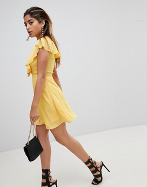 photo Tea Dress with Tie Cape Detail by Fashion Union, color Yellow - Image 4