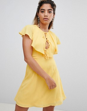 photo Tea Dress with Tie Cape Detail by Fashion Union, color Yellow - Image 1