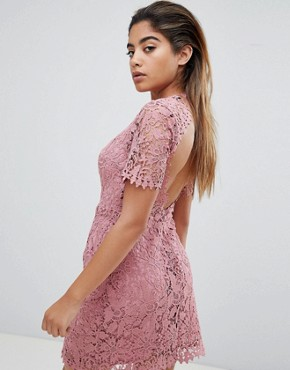 photo Mini Dress in Delicate Lace by Fashion Union, color Pink Lace - Image 2