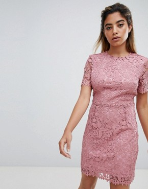 photo Mini Dress in Delicate Lace by Fashion Union, color Pink Lace - Image 1