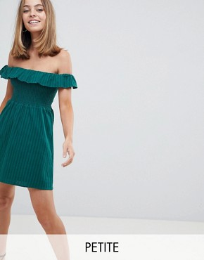 photo Off Shoulder Dress with Shirring by Fashion Union Petite, color Forest Green - Image 1