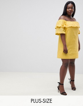 photo Off Shoulder Dress with Ruffle in Broderie by Fashion Union Plus, color Yellow - Image 1
