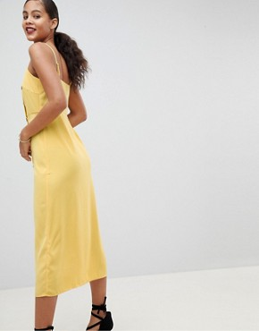 photo Cami Sun Dress with Button Front by Fashion Union Tall, color Yellow - Image 2