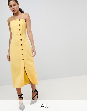 photo Cami Sun Dress with Button Front by Fashion Union Tall, color Yellow - Image 1