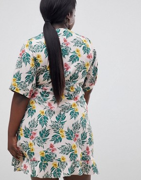 photo Wrap Dress in Tropical Print by Fashion Union Plus, color Tropical - Image 2