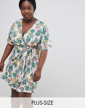 photo Wrap Dress in Tropical Print by Fashion Union Plus, color Tropical - Image 1