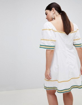photo Tea Dress with Square Neck and Ripple Trim by Fashion Union Plus, color White - Image 2