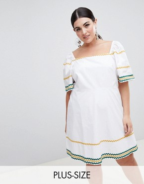 photo Tea Dress with Square Neck and Ripple Trim by Fashion Union Plus, color White - Image 1